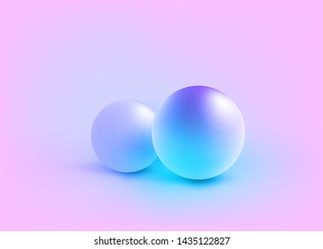 3D Studio Scene, Duotone Fluorescent Spheres, Realistic Display Circle Shape Form with Shadow, Conceptual Trendy Color Style, Creative 2D Visualization of 3d Graphic, Eps10 Vector Illustration - Vecto