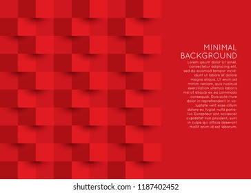 3d style abstract origami geometric background in red color with space for text.