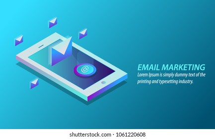 3D style design  - Email marketing, Mobile marketing, Email Subscription flat vector isometric concept