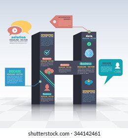 3d Style Letter H Flat Infographics Design and Web Elements. Business, Marketing Concept Vector Template