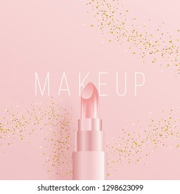 3D style lipstick on square cover. Vector Illustration. minimal design with golden glitters and calligraphy. ideal for ad, promotion. social media, web, banner, poster, sale, discount.