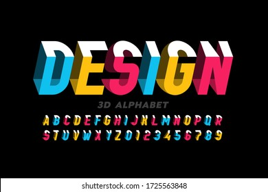3D style modern font, alphabet letters and numbers vector illustration