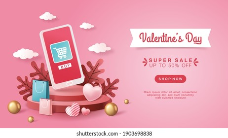 3d style Online shop service concept for website, with smartphone objects, shopping bags, plants, love, balls and a pink background