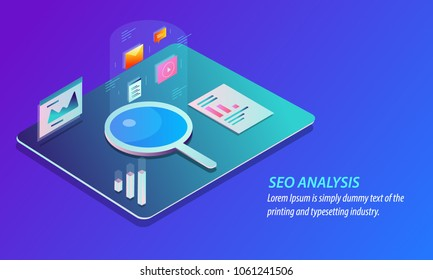 3D style - SEO analysis , Search Data monitoring, Marketing data flat isometric design