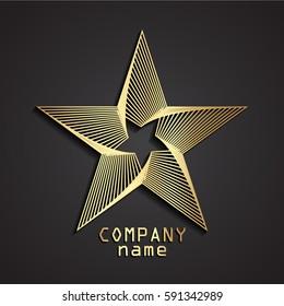 3d stylized linear shape rotate star gold logo