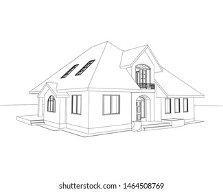 3D suburban house. Drawing of the modern building. Cottage model isolated on white background. Vector blueprint.