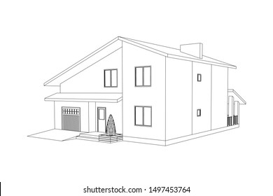3D suburban house model. Drawing of the modern building. Cottage project isolated on white background. Vector black and white blueprint.