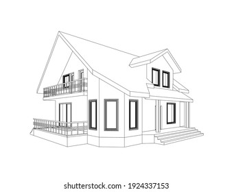 3D suburban house model. Drawing of the modern building. Cottage project on white background. Vector blueprint.