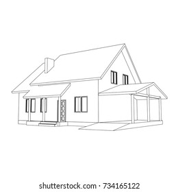 3D suburban house model. Drawing of the modern building. Cottage project on white background. Interesting vector blueprint.