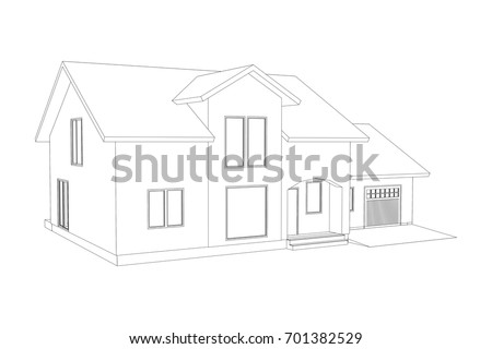 3 D Suburban House Model Drawing Modern Stock Vector Royalty Free