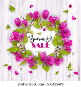 3d. Summer Sale. Discounts. End of season.  Advertising background with tropical flowers Bougainvillea and lettering against white wood. Concept. Vector illustration.