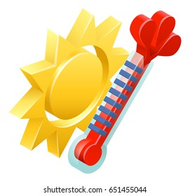 A 3d sun and thermometer isometric weather icon concept