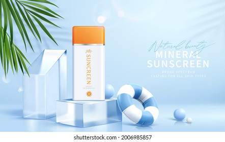 3d sunscreen bottle set on glass cube podium, decorated with swimming ring and tropical leaves. Suitable for cosmetic product display or ad template.