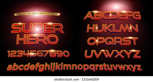3D Superhero Stylized Lettering Text, Font & Alphabetical Vector Template