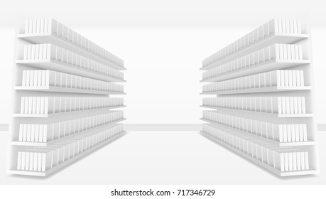 3D Supermarket Aisle With White Blank Full Shelves. EPS10 Vector
