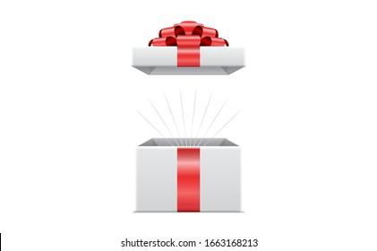 3d Surprise box red ribbon