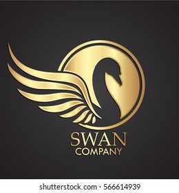3d swan negative shape gold logo