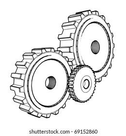 3d technical drawing of cogwheels - vector