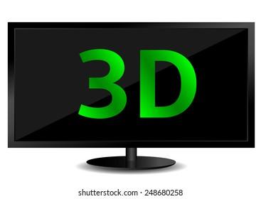 3D technology, TV screen, white background, vector illustration