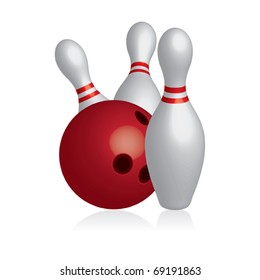 3D ten pins / skittles with bowling ball - vector illustration
