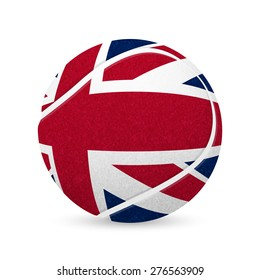 3D tennis balls with UK flag isolated on white. Vector EPS10 illustration.
