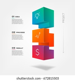 3d tetris  blocks infographics step by step. Element of chart, graph, diagram with 3 options - parts, processes, timeline. Vector business template for presentation, annual report, web design