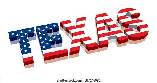 3D Texas with American flag Word Text Flag (letters)