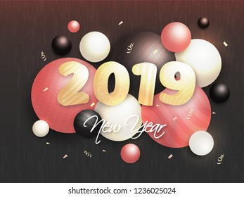 3D text 2019 on brown texture background decorated with realistic baubles for Happy New Year celebration concept.
