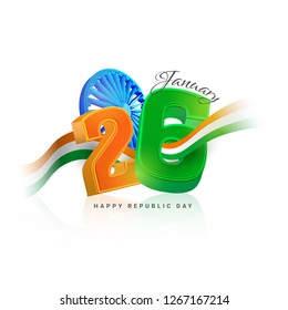 3D text 26 January with Ashok Wheel and waving tricolor ribbon on white background for Republic Day celebration.