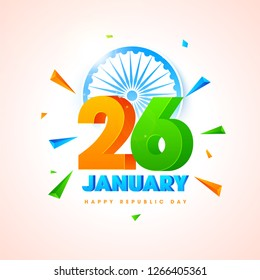 3D text 26 January with Ashoka Wheel on glossy background decorated with geometric elements.