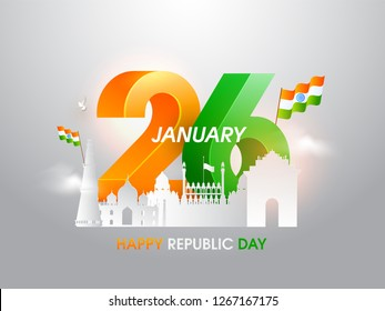 3D text 26 January with National Flags and famous Indian monuments in paper cut style on glossy background for Happy Republic Day celebration.
