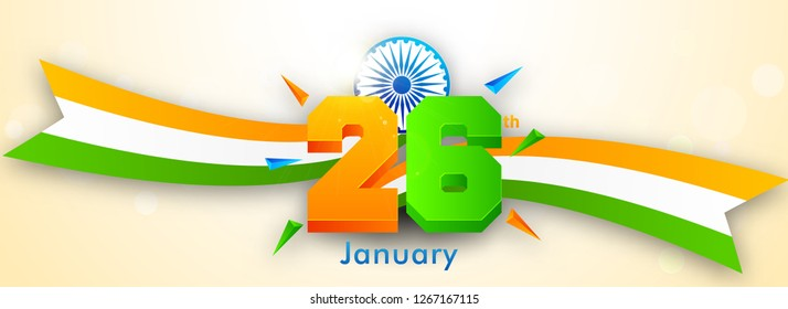 3D text 26th January with indian flag and Ashok Wheel on shiny background for Happy Republic Day celebration.