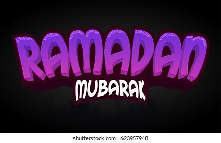 3D Text Design Ramadan Mubarak for Holy Month of Muslim Community Festival celebration.
