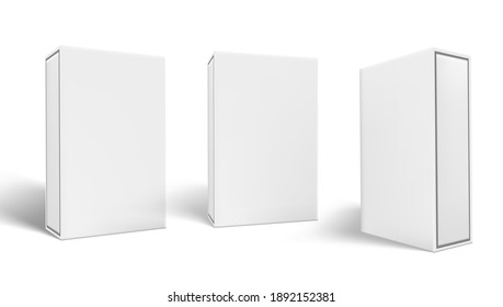 3D Three Blank Package Box With Shadows Set. EPS10 Vector