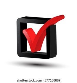 3d Tick Symbol. Vector Red and Black Checkbox Icon Isolated on White Background.