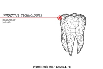 3d tooth innovation laser dentistry polygonal concept. Stomatology symbol low poly triangle abstract oral dental medical care business. Connected dot particle modern render white vector illustration