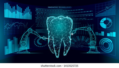 3d tooth innovation robot arm polygonal concept. Stomatology symbol low poly triangle abstract oral dental medical care business. Connected dot particle modern render blue vector illustration