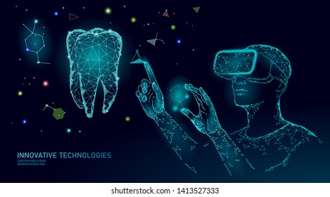 3d tooth innovation virtual reality polygonal concept. Stomatology symbol low poly triangle. Abstract oral dental medical care business. Connected dot particle modern vector illustration