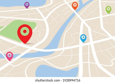 3D top view of a map with destination location point, Aerial clean top view of the day time city map with street and river, Blank urban imagination map, GPS map navigator concept, vector illustration