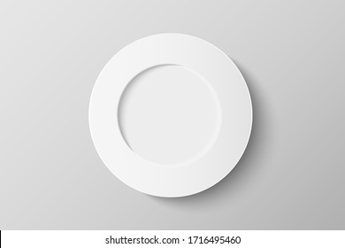 3d top view of white ceramic plate mockup isolated on background. Flat lay of dish with copy space. Realistic vector illustration.