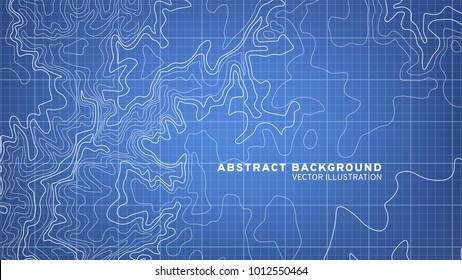 3D Topographic map background concept. Blue topographic background pattern with isolines. Vector