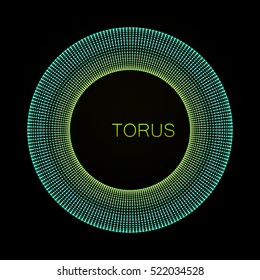 3D torus. Element for cyber, digital, science, big data concept design. Vector Illustration
