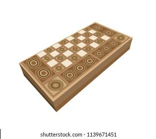 3D Traditional Backgammon, Turkish, Lebanese, Arabic Game Board - Vector Illustration Isolated Icon