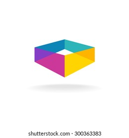 3d transparent abstract colorful perspective box logo