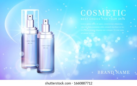 3D transparent glass cosmetic spray bottle with shiny glimmering background template banner.