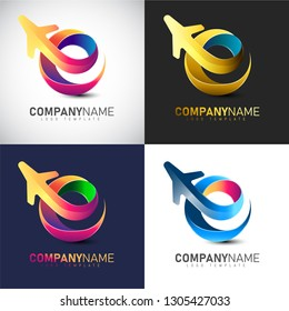 3D travel logo template with multiple color such as pink, blue, gold & green for travel Company and Airlines logo