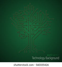 3d tree circuit board background. Abstract  vector technology background