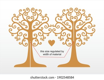 3d tree vector template file for  laser cut, papercut, wood, plywood, acrylic. Tree template home decor.