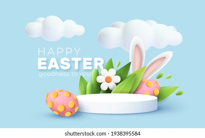 3D trendy Easter greeting with 3d product podium, spring flower, cloud, Easter egg and bunny. Spring floral Modern 3d Easter graphic concept. Vector illustration EPS10