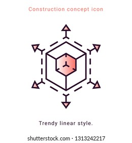 3d trendy symbol. Augmented Reality illustration. VR icon. Vector trendy linear style. Scaling icon with 3d cube sign and line arrows. Digital technology 3d symbol.